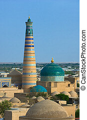 Minaret in ancient city of Khiva, Uzbekistan