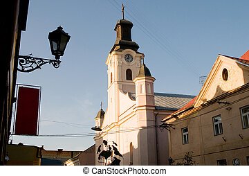 old town - old clocks city Uzhgorod, Ukraine