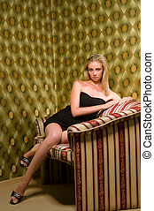 blonde on the couch