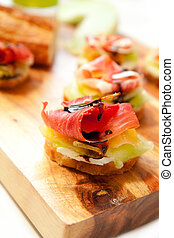 Ham and Melon Appetizers - Prosciutto along with melon and...