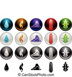 Element symbols - Five element symbols in four different...