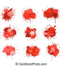 Red ink or blood blobs isolated on white for design