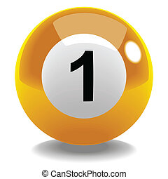 Billiard Ball No1 - Stock vector of billiard ball number 1