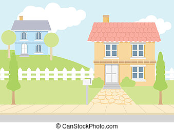 Houses - Stock vector of houses in pastel color