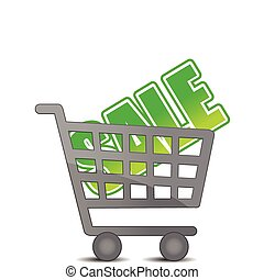 Shopping sale cart illustration isolated over white