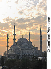 beautiful old mosque at istanbul on sunset