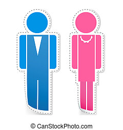 Male and Female Stickers - illustration of male and female...