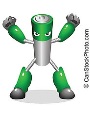 Super Battery - Cartoon character of a robotic battery