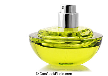 Bottle of perfume - Opened bottle of green perfume isolated...