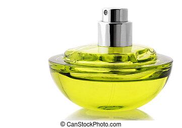 Bottle of perfume - Opened bottle of green perfume isolated...