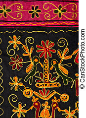 Hand Stiched Broderie - Colorful hand stitched broderie of...