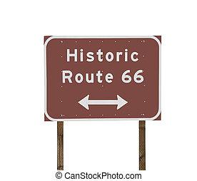 rota, histórico,  66, sinal