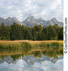 Teton reflection - reflection of Teton range in Wyoming