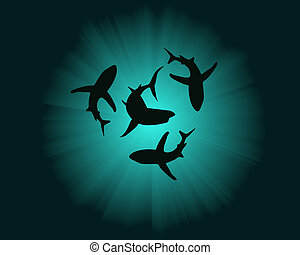 silhouettes of sharks
