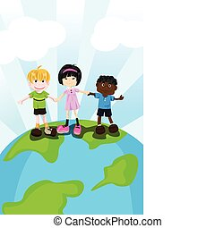 Multi ethnic children - A vector illustration of multi...