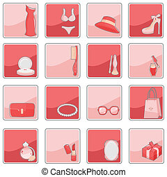 Beauty fashion icons - A vector illustration of a collection...