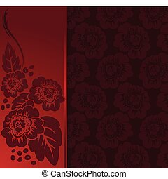 red frame - red asymmetrical frame with a floral composition