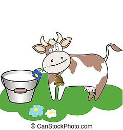 cow and a bucket of milk - cow chewing a flower beside a...