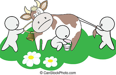 three man share cow - three cartoon man shared a cow on a...