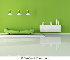 green living room with fashion couch on wheels - rendering