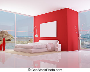 red minimalist bedroom, - bedroom of a modern beach villa -...