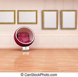 ball chair in a classic interior