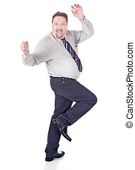 Dancing excited businessman - Full body dancing and cheering...