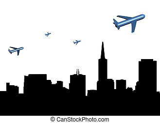 planes departing San Francisco illustration - abstract...