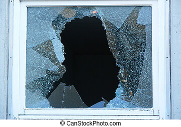 Broken Window with very sharp glass fragments