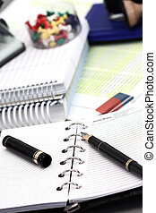 Office stationery over gray background