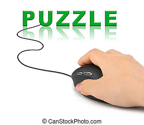 Hand with computer mouse and word Puzzle