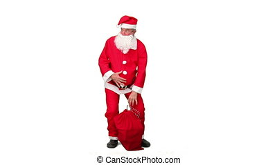 Santa Claus looking for something isolated on a white...