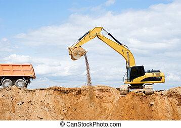 Excavator loading dumper truck - Loader Excavator loading...