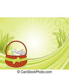 Easter basket and spring floral bac