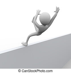 3D man falling from wall