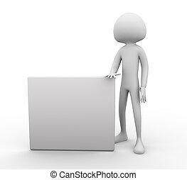 Empty board - 3d man with empty board