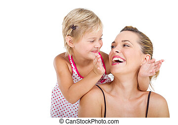 playful little girl with mother