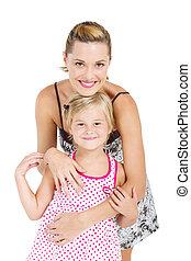 studio portrait of mother daughter - studio portrait of...