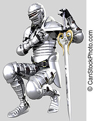 Knight's Pledge - Kneeling knight in shining Medieval...