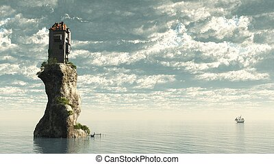 Tower Castle on Rock - Fantasy tower castle on a rocky sea...