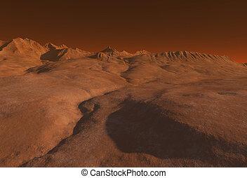 Martian Landscape - Imaginary Martian landscape, 3d...