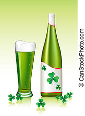 Saint Patrick's Day - illustration of green beer with clover...