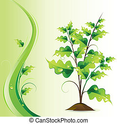Growing Tree - illustration of growing green tree on...