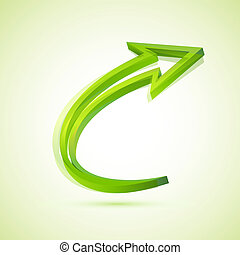 Arrow - illustration of twisted arrow on isolated background
