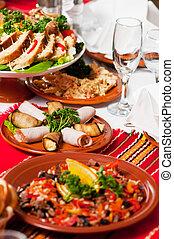 備辦, 食物, 桌子, 集合, 裝飾