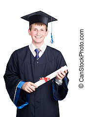 happy smiling graduate guy with diploma isolated - Young...