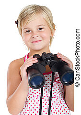 cute little girl with binoculars