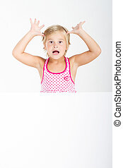 funny little girl - cute little girl behind white board with...