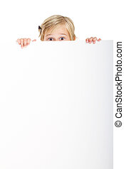 cute little girl behind white board with funny facial...