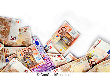 euro bills - Close up image of several euro bills isolated...